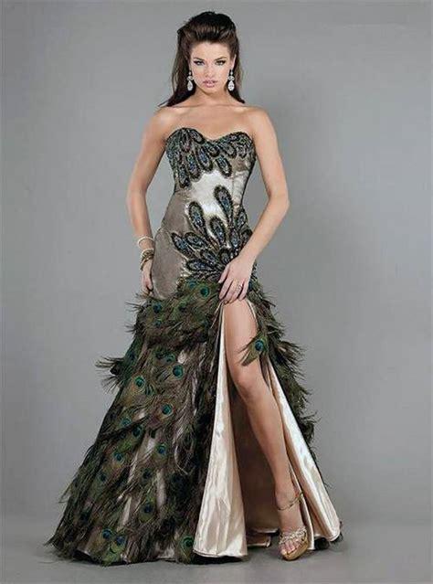 wow peacock feather wedding dressfsatyn zfaf