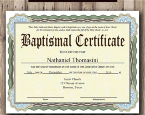Baptism Certificate Etsy Christening Certificate Template