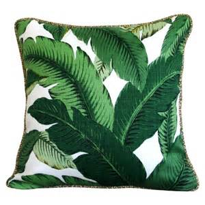 Painting Upholstery Fabric Green Palm Cushion Cover Natural Piping Adorn