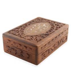 wooden asian oriental jewelry box inlayed flowers carved wooden indian jewelry box
