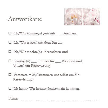 Hochzeitseinladung Antwortkarte by Antwortkarten Pfingstrosen