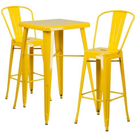 Yellow Bar Table Yellow Metal Indoor Outdoor Bar Table Set W 2 Barstools Flash Furniture Ch 31330b 2 30gb Yl Gg