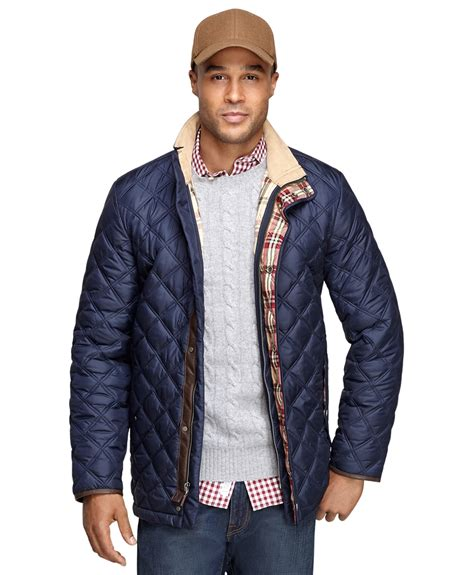 men s lyst brooks brothers quilted jacket in blue for men
