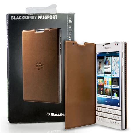 genuine blackberry passport leather flip shell cover