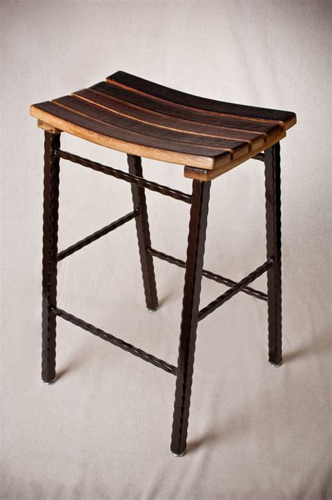 Wine Black Stool by Counter Height Wine Barrel Stave Saddle Stool With Metal Base
