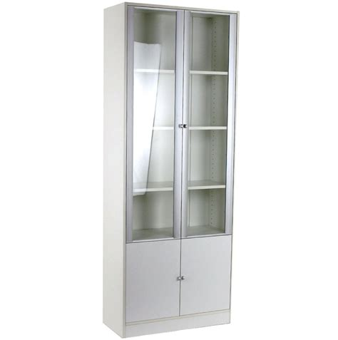 Small White Bookcase With Glass Doors American Hwy White Small Bookcase
