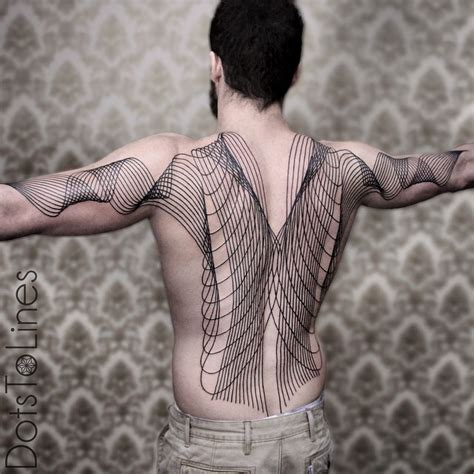 back and arms wave lines blackwork tattoo best tattoo