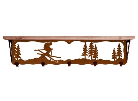 34 quot skier metal wall shelf and hooks with alder wood top