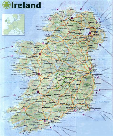 printable road maps of ireland large road map of ireland with all cities airports and