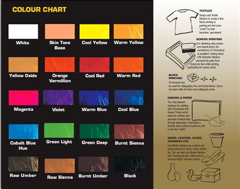 chromacryl poster colour chart the paint spot