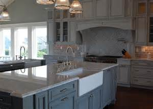 Restoration Hardware Kitchen Cabinets by Carrera Marble Countertop Transitional Kitchen