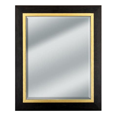 Black Wood Mirror with Gold Trim - 14x14"