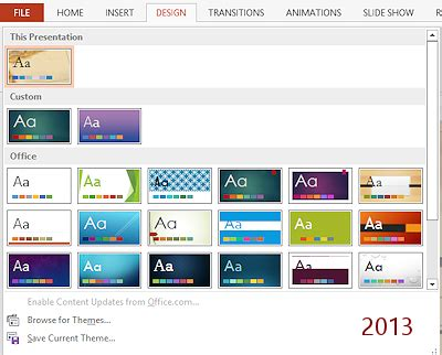 Templates Themes Theme Format Jan S Working With Presentations Design Powerpoint 2013