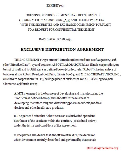 Exclusive Dealership Agreement Template sle reseller agreement product reseller agreement