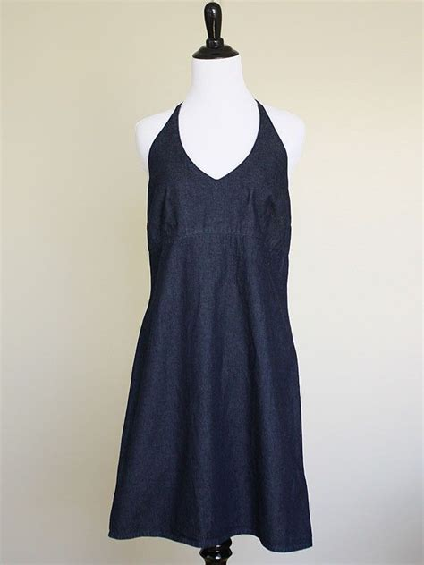 Dress Misco navy denim halter dress 10 v neck jean sundress blue