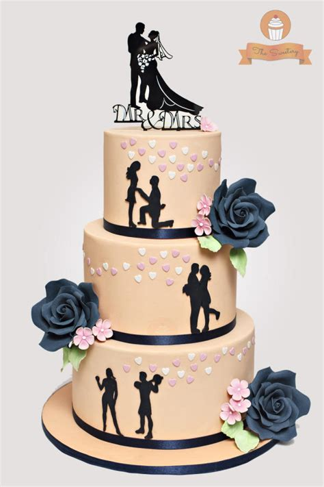 Silhouette Wedding cake in peach and navy blue   Cake by