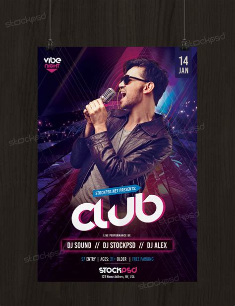 free nightclub templates club vibe free psd flyer template by stockpsd on