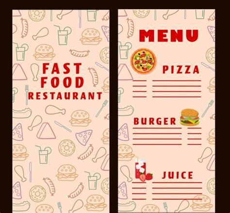 fast food menu design templates fast food menu template food icons vignette background