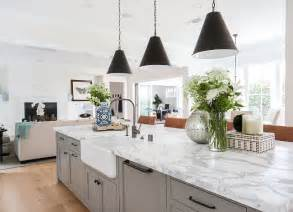 white marble kitchen island modern farmhouse with transitional interiors home bunch