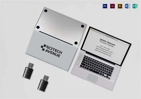Folded Laptop Business Card Template In Psd Word Publisher Illustrator Indesign Folded Business Card Template Microsoft
