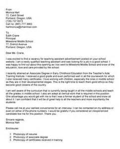Teacher Assistant Cover Letter   Latest Resume Format