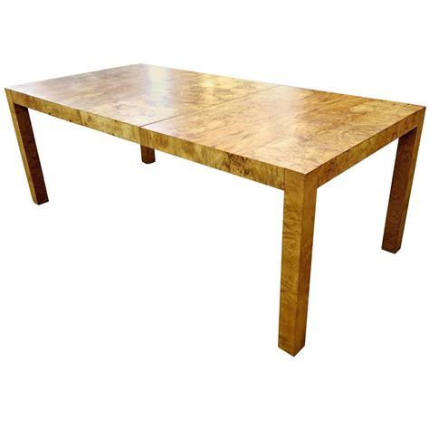 Mid Century Style Dining Table Burled Wood Or Burl Wood Parsons Style Mid Century Modern Dining Table At 1stdibs