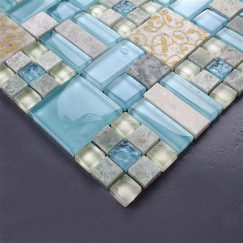 Hand Painted Tiles For Kitchen Backsplash Backsplash Tiles Kitchen Blue Glass Amp Stone Blend Mosaic