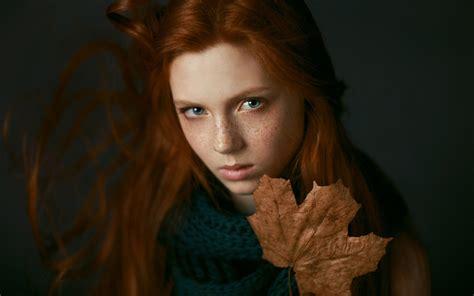 girl portrait wallpaper freckles girl autumn portrait wallpaper