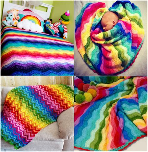 Rainbow Crochet Baby Blanket by Crochet Bobble Stitch Rainbow Blanket Free Pattern