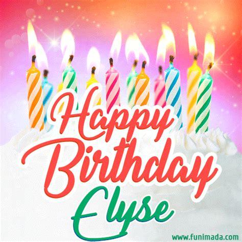 happy birthday gif  elyse  birthday cake  lit candles   funimadacom