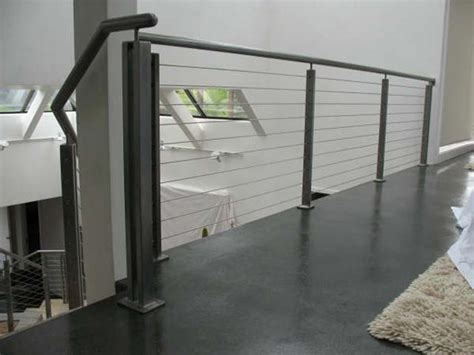 indoor banisters sleek and polished indoor cable railing mclean forge and welding