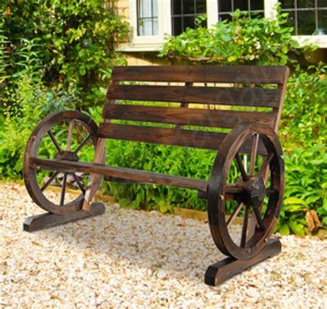 wagon wheel bench seat wooden garden bench timber outdoor patio park wagon wheel