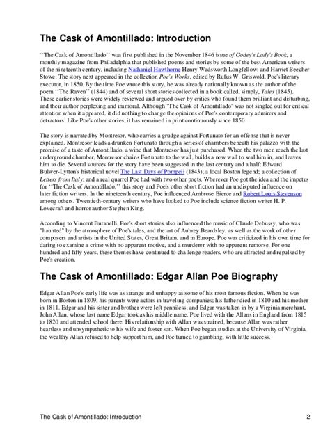 Literary Analysis Essay On The Cask Of Amontillado by The Cask Of Amontillado Notes