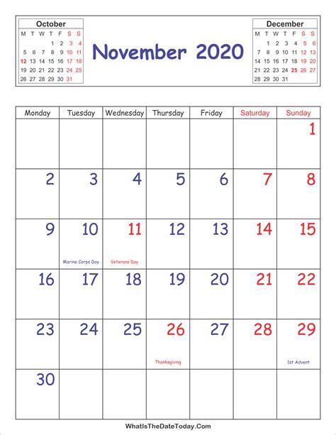 printable  calendar november vertical layout whatisthedatetodaycom