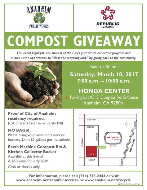 Compost Giveaway - compost giveaway anaheim beautiful