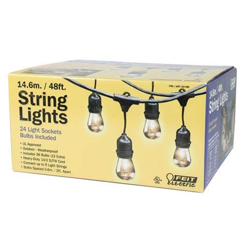 feit electric string lights feit outdoor weatherproof string light set 48 ft 24