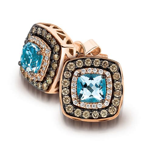 le vian 14ct strawberry gold aquamarine earrings