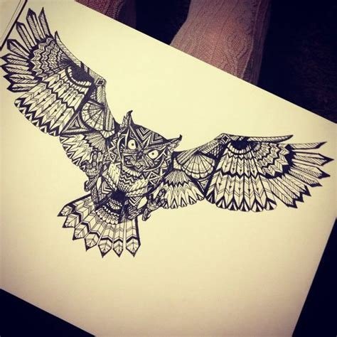 geometric tattoo indian big indian flying owl with geometric ornament tattoo