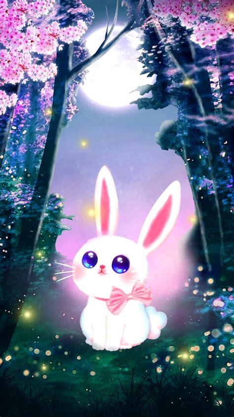 artstation  cute bunny spring season night wallpaper