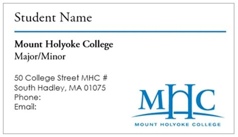 Business Card Template Mount Holyoke College Student Business Card Template
