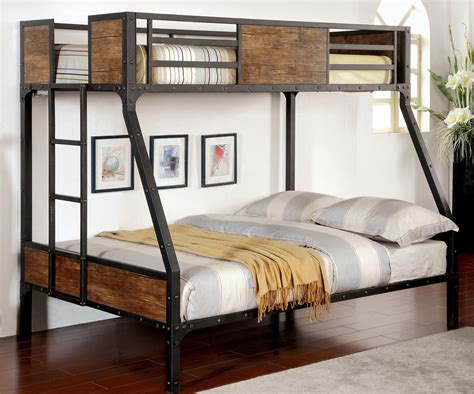 furniture of america bunk beds furniture of america industrial style metal wood twin over full bunk bed