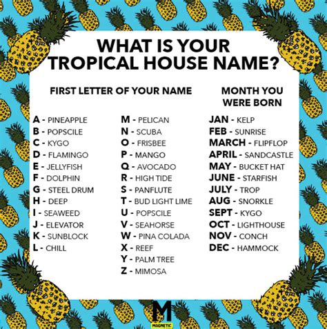 house names we made you a tropical house name generator magnetic