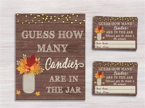 guess how many in the jar ideas christmas items similar to fall baby shower guess how many candies cards and sign rustic jar