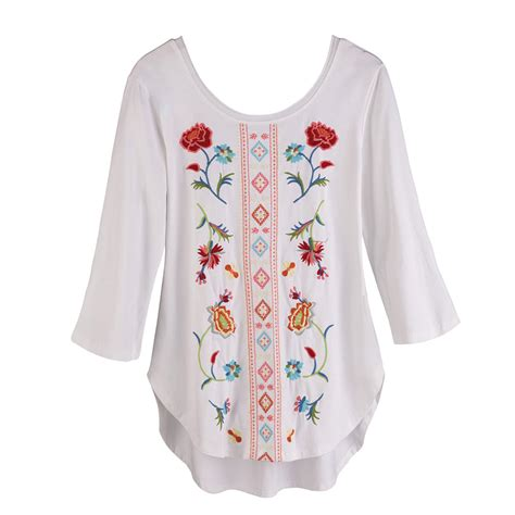 Floral Embroidered Shirts White tunic top floral embroidered white shirt white