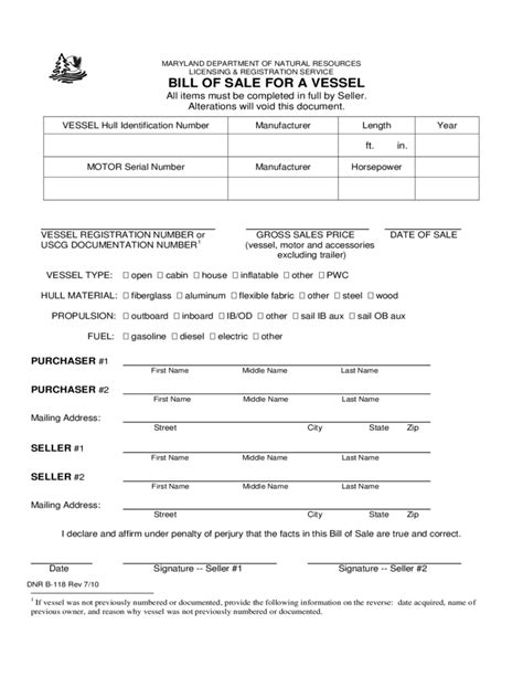boat trailer bill of sale md bill of sale for a vessel maryland free download