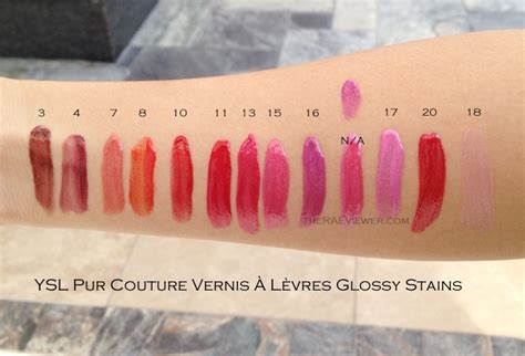 Ysl Lipstick Pur Couture Rpc 7 Le Fuchsia ysl glossy stain swatches lipstick lipgloss