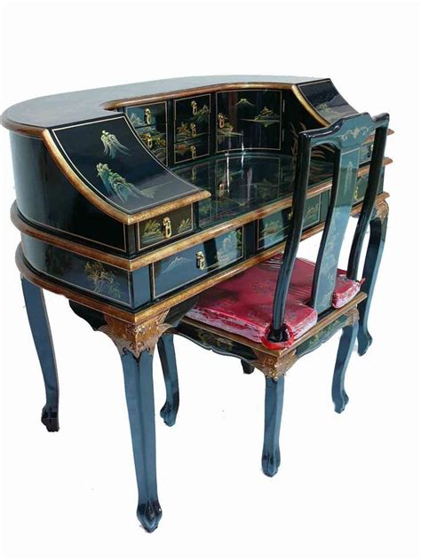 Black Lacquered Hand Painted Writing Desk Chair Oriental Asian Desk