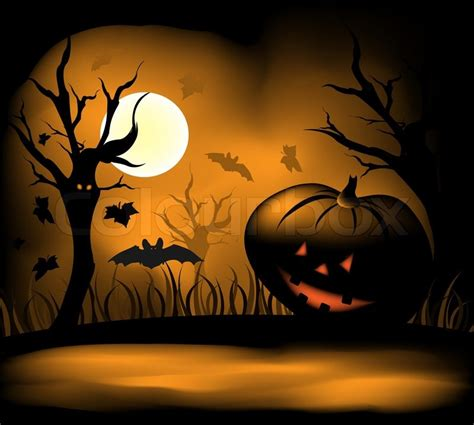 How To Get Floor Plans For My House halloween background with moon bats and pumpkin stock