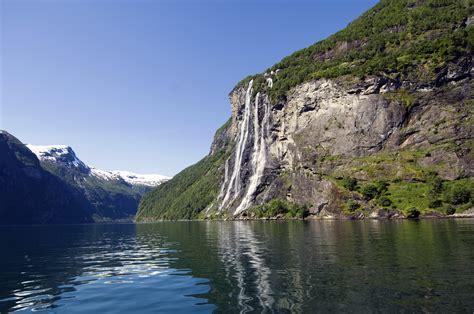 fjord water geirangerfjord water fall in norway 4k wallpaper hd