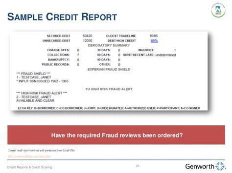 Credit Investigation Report Format Understanding Credit Reports And Credit Scoring Webinar Slides